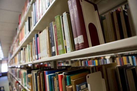 Stacks of books at Gelman Library